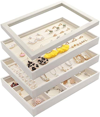 Mebbay Stackable White Velvet Jewelry Trays Organizer Set with Clear Lid Jewelry Storage Display Trays for Drawer Earring Necklace Bracelet Ring Organizer Set of 4