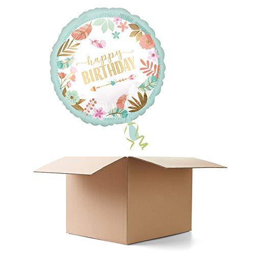WOOOOZY Ballongrüsse Happy Birthday / Geburtstag / Herzlichen Glückwunsch Blumen, 1 Ballon