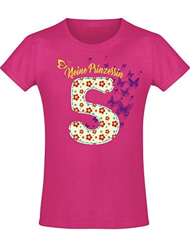 Mädchen Geburtstags T-Shirt: 5 Jahre mit Blumen - Fünf Fünfter Geburtstag Kind-er - Geschenk-Idee - Prinzessin Princess - Glitzer Pink Rosa - Niedlich - Kindergeburtstag - Jahrgang 2016 (116)