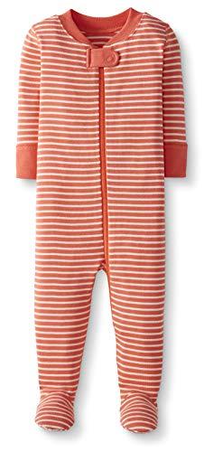 Moon and Back de Hanna Andersson - Pijama de una pieza con pies hecho de algodón orgánico para bebé, Coral, 3-6 messes (56-67 CM)