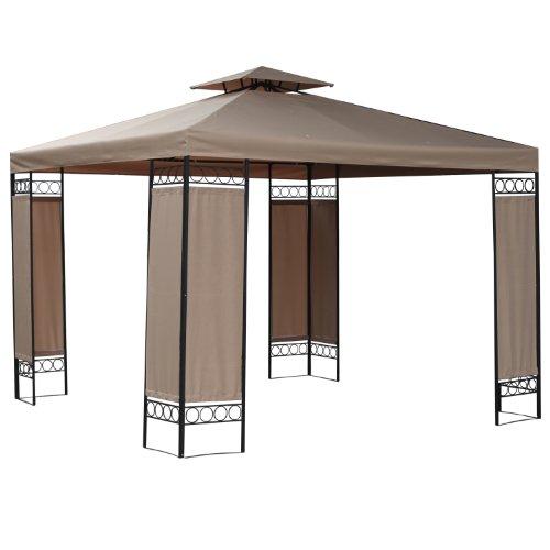 FoxHunter BIRCHTREE Premium 3m x 3m x 2.6m Dark Beige Garden Pavilion Patio Gazebo Powder Coated Steel Pole 180G Waterproof Canopy Tent Awning Marquee G006A