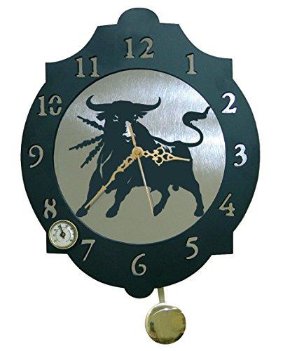 Arthifor - Reloj de Pared Toro Bravo con péndulo y...