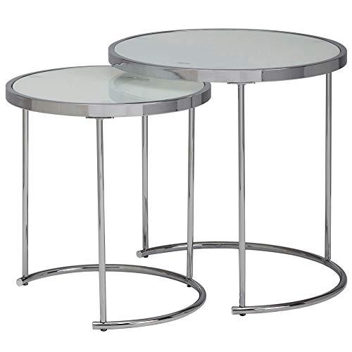 Wohnling Design Beistelltisch Rund Ø 50/42 cm - 2 teilig Weiß Silber mit Glasplatte | Wohnzimmertisch 2er Set | Satztisch Milchglas | Couchtisch