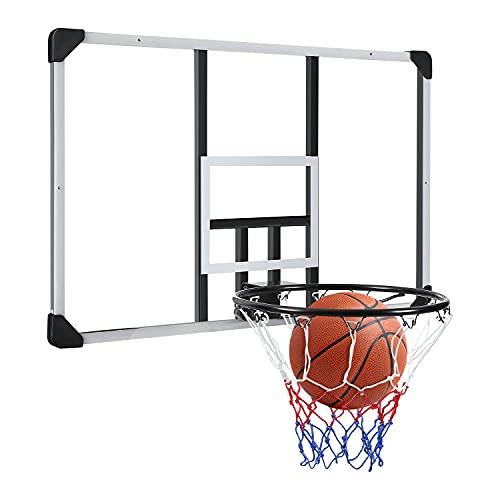 44 Inch Basketball Backboard Wall-Mount Hoops & Goals Rim Combo Kit&Shatterproof Polycarbonate Board&All-Steel Rustproof Frame&for Standard No.7 Balls