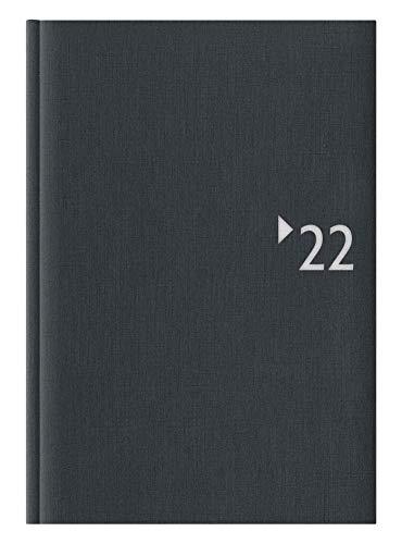 Buchkalender anthrazit 2022 - Leinenoptik mit Registerschnitt - Bürokalender 14,5x21 - 1T/1S - Einband wattiert - Halbstundeneinteilung 7-22 Uhr - 869-2621-1