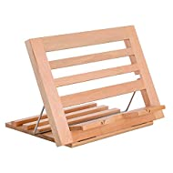 U.S. Art Supply Hampton Large Wooden Table Easel, Cookbook Stand, Text Book Tablet Rest, Premium Beechwood - Adjustable Incline, 2 Flip-Up Page Holders - Kitchen Countertop Recipe Rack - Portable Wood