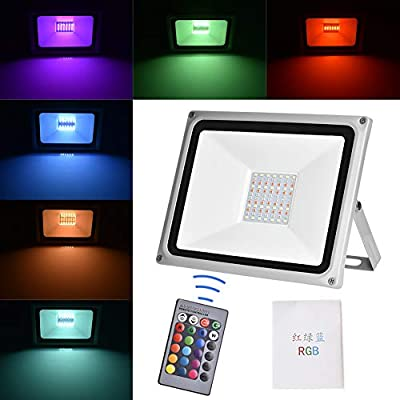 Led RGB Flood Light, 16 Colors Changing Outdoor Spotlight with Remote Control, IP65 Waterproof Wall Washer Light, 4 Modes Dimmable Stage Lighting for Disco, Bar, Club, Party, Wedding