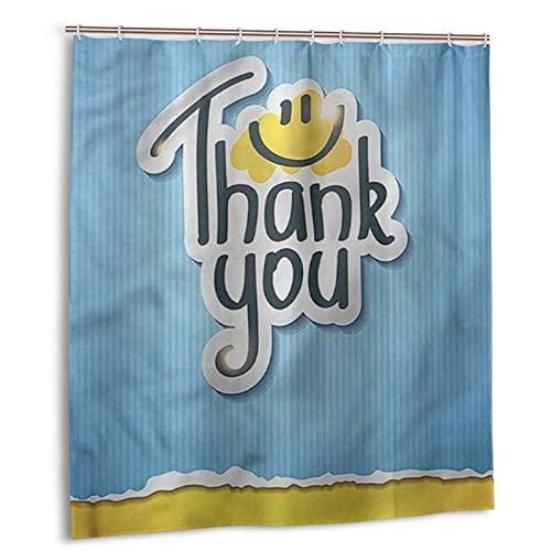 KENADVI Cortina de Ducha de baño Lavable,Frase de Agradecimiento,con Ganchos,Tela de poliéster Impermeable,decoración de baño,66 x 72 Pulgadas