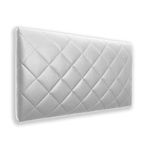 Silcar Home - Cabecero de Cama Tapizado en Polipiel, Modelo Brisa (Blanco, 105x50 cm) | Cabecero Acolchado | Cabezal Tapizado | Cabecero Original | Transporte Incluido