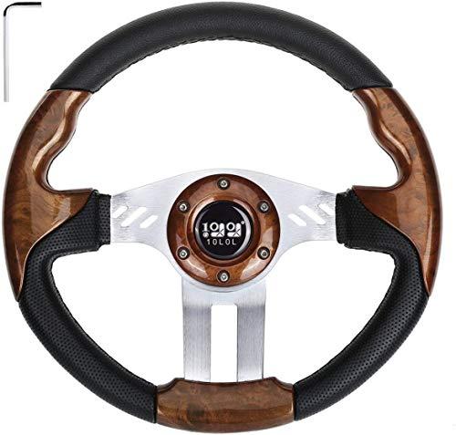 10L0L Golf Cart Generic 12.5' Golf Cart Steering Wheel fit EZGO Club Car Yamaha, Woodgrain Steering Wheel