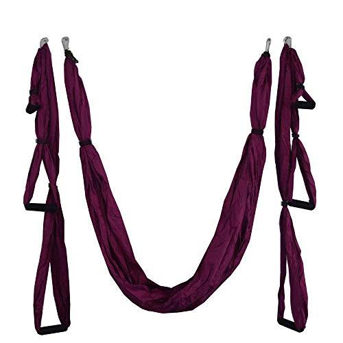 SHYSBV 2.5 * 1.5 M Antena De Yoga Hamaca Inversión Antigravedad Swing Trapeze Yoga Extender Cinturón Bandeja Colgante De Techo para Gimnasio En Casa-1 Púrpura Oscuro