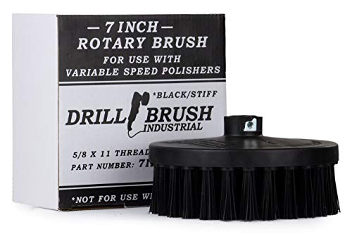 Scrub Brush for Rotary Polisher – Round 7 Inch Black Ultra Stiff with Nylon Bristles – Fits Variable Speed Polisher - 5/8 x 11 Threaded Hub – Concrete Cleaning – Brick Cleaner – Paint Stripper/Remover
