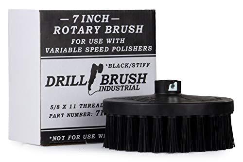 Industrial - DA - Bürste - 7-in Schwarz-Ultra steife Borsten - Variable Speed Polierer - 5/8 x 11 mit Gewinde Hub - Bodenreiniger - Furnace - Grill - Rost - Stein - Grill Brush - Rostlöser - Brick