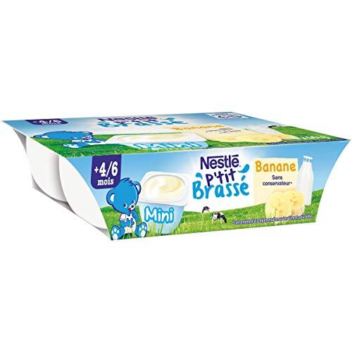NESTLÉ Bébé - Ptit Brassé Mini - Banane - Laitage dès 4/6 mois - 6x60g