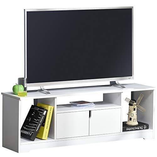 HOMCOM TV-Ständer, TV Schrank, TV-Kommode, Moderner Fernsehtisch mit Schrank und Offene Regale, Spanplatte, Weiß, 120 x 30 x 41cm