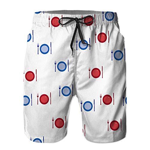 HLSCYZ Men's Quick Dry Drawstring Waist Beach Shorts,Cutlery Seamless Pattern Fork Knife Plate,Summer Surf Long Swim Trunks Board Shorts 4XL