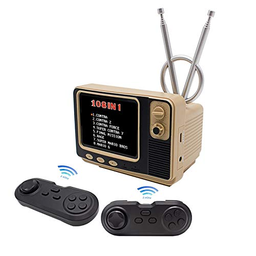 Aontxui Retro Game Console,Bookshelt Retro TV with 2 Wireless Controllers;Built-in 108 Home C3 Games wiht 2 Channels,Supporting 2 Players and TV Connection, 14500 mAh Rechargeable Battery (Golden)
