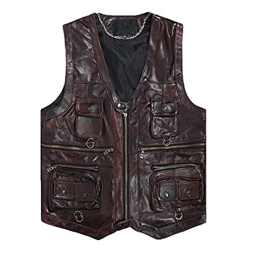 Chaleco de cuero genuino hombres marrón chaleco sin mangas chaqueta gruesa motocicleta más tamaño chaleco multi bolsillo cremallera