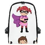 ELIENONO Mochilas Escolares Juveniles,Disfraces de superhéroe para niñas en Blanco