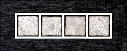 Cuadroexpres - Cuadro Pintado Mandalas en Plata, 150x60 cm, con Relieve y con Marco Negro Pintado en el Lienzo 100% Original, para Encima del Sofá o la Cama
