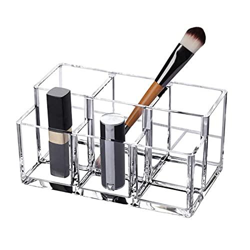 Soporte de Cepillo de Caja de Almacenamiento de Maquillaje 6 Secciones Acrílico Cosmética Caja de Almacenamiento para Maquillaje, hogar, Oficina, baño
