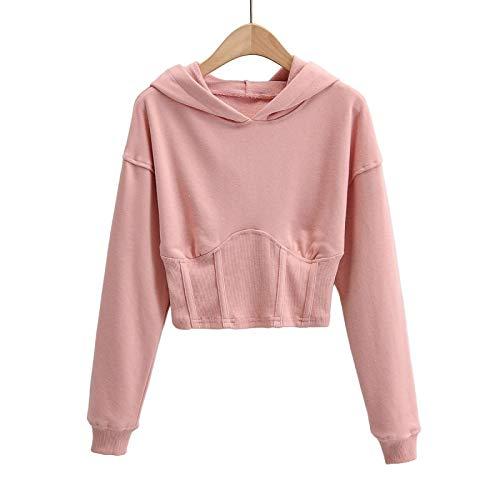 Damski sweter z kapturem Moda Jednolity kolor Wygodny Osobowość Trend Na wszystkie mecze Krótki sweter z długimi rękawamiS