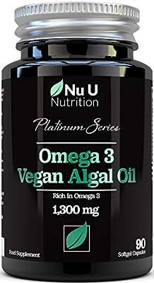Vegan Omega 3 Rich Algae Oil Capsules with Vitamin E - 1300mg Algae Oil - Vegan DHA from Marine Algae Oil - 90 Omega 3 Softgel Capsules - Vegan and Vegetarian Omega 3