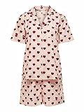 Only ONLELLIE S/S Woven Nightwear Set Ensemble de Pijama, Blushing Bride/AOP:Red Hearts, 40/42 Femme