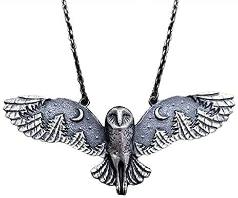 YGTQ Collar de plata con búho y bosque, luna y bosque, susurro de bosque, estilo retro con búho, plata, collar de tótem de animales para mujeres y niñas