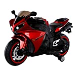 Alison 12v Motorcycle for Kids,Children Battery Motorcycle Rechargeable 2 Wheels Motorbike Ride on Kids Electric Motorcycle with Lighting Wheels/Hand Racing Foot Brake/PU seat (Red)