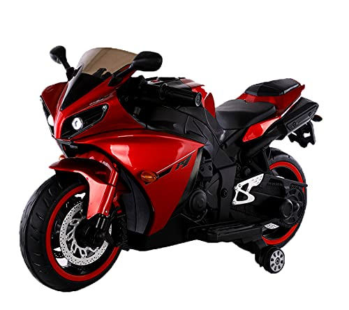 12v Motorcycle for Kids,Children Battery Motorcycle Rechargeable 2 Wheels Motorbike Ride on Kids Electric Motorcycle with Lighting Wheels/Hand Racing Foot Brake/PU seat (Red)