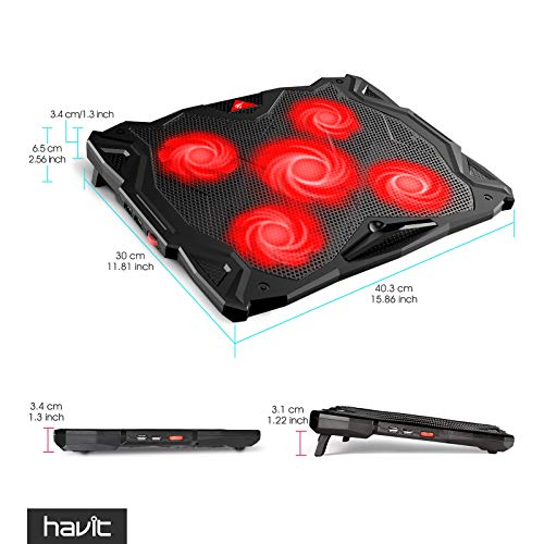 Product Image 3: havit 5 Fans Laptop Cooling Pad for 14-17 Inch Laptop, Cooler Pad with LED Light, Dual USB 2.0 Ports, Adjustable Mount Stand (Black)