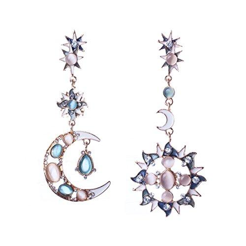 QIYUN.Z Sun Moon Donne Brillanti per Sempre Progettare Orecchini Opale Pietra Lungo Ciondola Trafitto Orecchini