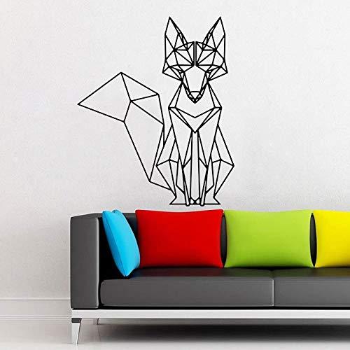 Etiqueta engomada geométrica de la pared del zorro decoración interior del hogar para la decoración del dormitorio de la sala de estar Mural extraíble calcomanías de animales A8 57x69cm