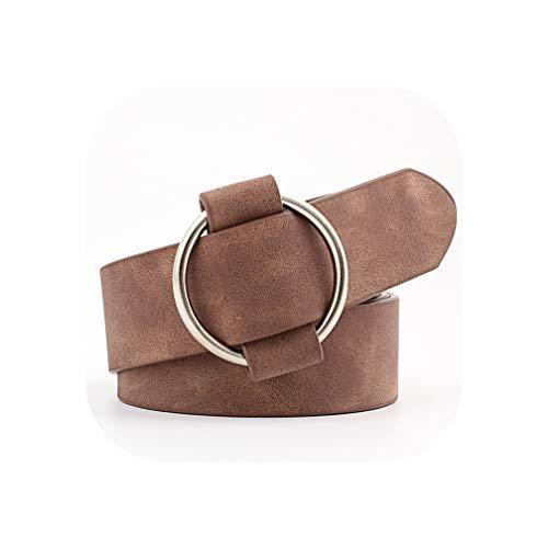 Womens ronde casual dames riemen voor modellering riemen zonder gespen lederen riem Cinturon Mujer N002-chocolade 103x3cm