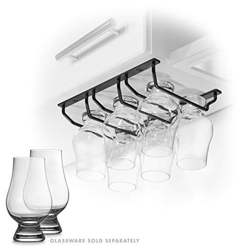 CairnCradle Whiskey Glass Rack - Under Cabinet Whisky Tasting Glasses Holder Storage Hanger Metal Organizer for Bar Kitchen (3 Across x 2 Deep, Matte Black)