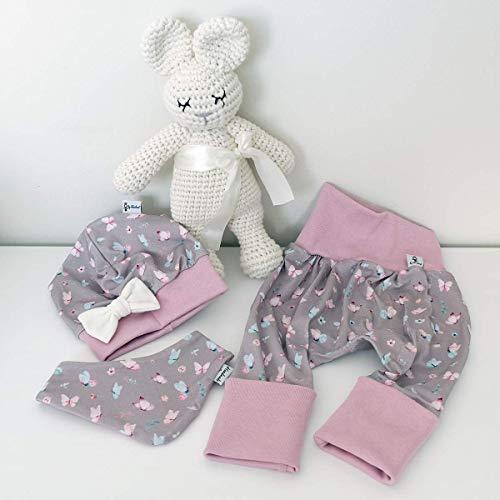 ANGEBOT Set - Hose, Schleifenmütze, Halstuch - Frühling Schmetterlinge (altrose) Baby Mädchen