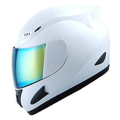 1Storm Motorcycle Bike Full FACE Helmet Mechanic Glossy White
