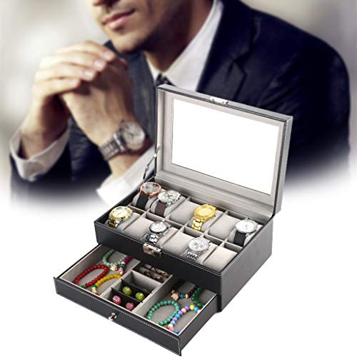 Kariwell - Joyero con 12 Compartimentos de Piel, Ideal para Guardar Joyas, Monedas, Tarjetas de tartot, Tesoros pequeños, con Mini Cerradura de Metal para Guardar Joyas y Tesoros