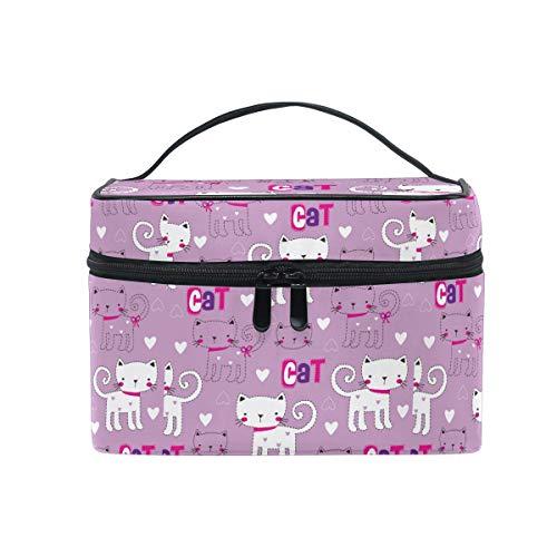 HaJie - Neceser de maquillaje de gran capacidad, diseño de gato y gatito, con impresión de citas de viaje, portátil, bolsa de almacenamiento para mujeres y niñas