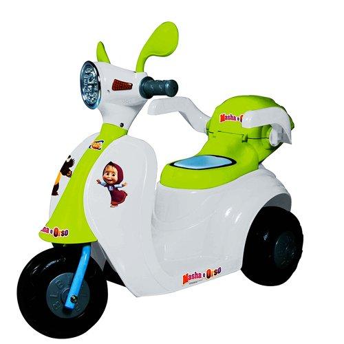 Varie Scooter elettrici Masha e Orso per Bambini con luci e Suoni. Motocicletta Moto 6V per Bambino