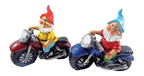 Gartenzwerg Motorrad Zwerge für Den Garten, Dekoration für die Terasse, Deko für Den Balkon (2er Set)