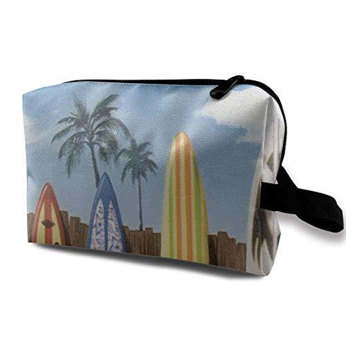 Bolsa de cosméticos de tabla de surf de Palm Tree Beach, portátil, adorable, espaciosa, bolsas de maquillaje de viaje, organizador de paquetes de lápices