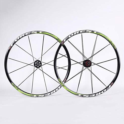 Fahrrad laufräder Berg-Rad-Set 26/27,5-Zoll-Fahrrad-Rad-Set Carbon-Faser-Hub Front 2 hinten 5 Bearings (Color : Green, Size : 27.5inch)