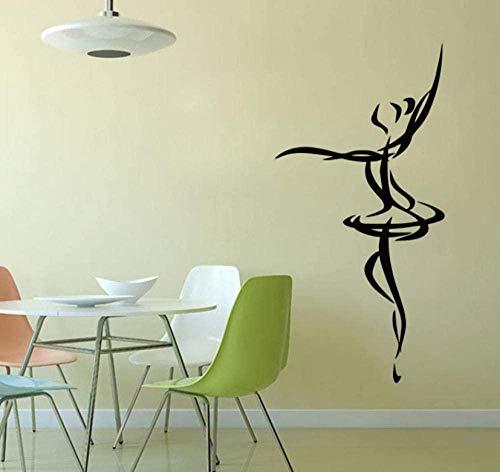 Wandaufkleber Umriss der Ballerina Wandaufkleber PVC Abnehmbare Klebetapete Home Decor Tanz Wandkunst Wandbilder 30X59Cm