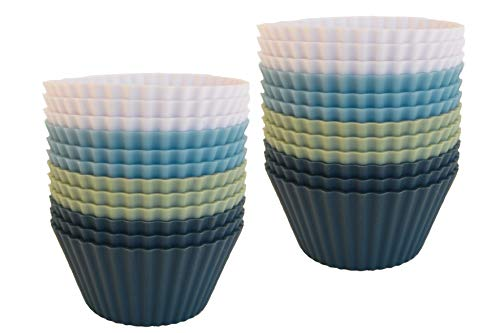 The Silicone Kitchen Reusable Silicone Baking Cups - Pack of 24   Non-Toxic   BPA Free   Dishwasher Safe