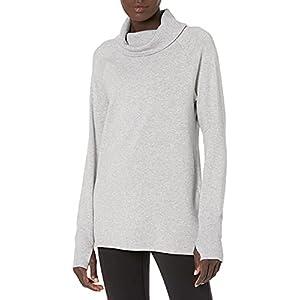 Amazon Essentials Women's Studio Terry Long-Sleeve Funnel-Neck Tunic, Light Grey Heather, S