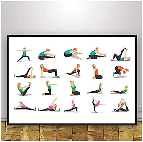Rzhss Yoga Ashtanga Poster Decoración Para El Hogar Arte De Pared Abstracto Moderno Pintura En Lienzo Impresión Divertida Imágenes De Pared Dormitorio Gimnasio Decoración 20X28 Pulgadas Sin Marco
