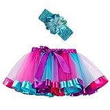 Sunhusing Adorable Girls Rainbow Tutu Skirt + Hair Strap Two-Piece Suit Toddler Party Danc...