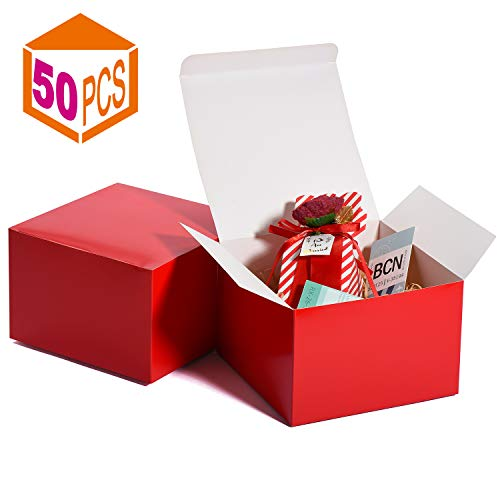 MESHA Cardboard Gift Boxes 50 Pcs-6X6X4in Favor for Bridesmaid Proposal/Birthday/Party/Wedding, Kraft Paper Present Packaging Box with Lid, Decorative Gift Wrap Boxes Bulk for Crafting/Cupcake -Red